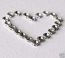 20 pcs Rhinestone Crystal Roundelle Silver Plated Spacer 8mm Bead Caps AC029