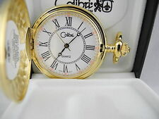 Pocket Watch W/Shield New clearance Colibri White Face Roman Numerals Goldtone