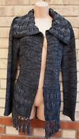 PARAMOUR DARK GREY KNIT CROCHET LONG SLEEVE TASSEL FRINGE CARDIGAN JUMPER S M