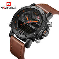Naviforce 9134 Men Military Leather Sports Dual Time Quartz Digital Wrist Watch