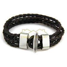 New Leather Braided / Interlaced Bracelet  Brown