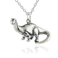 Brontosaurus Dinosaur Necklace - 925 Sterling Silver 3D Pendant Prehistoric New