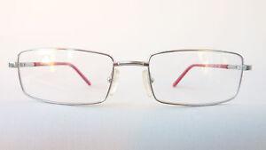 Brillenfassung silber Metallbrille  schmale eckige Form Bügel blau rot Gr. M