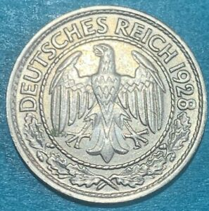 1928 A Germany Weimar Republic 50 Reichspfennig 1928A Coin