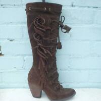 Bronx Suede Leather Boots Size UK 4 Eur 37 Womens Lace up So Today Brown Boots