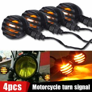 4x Motorcycle Turn Signal Light Bullet Brake Blinker bulbs For Bobber Cafe Racer