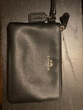 Coach Leather Wrist Coin Purse Bag in Black, Size Small