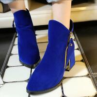 Chic Women's Pointed Toe Faux Suede Ankle Boots Block Heels Pull On Ladies Shoes
