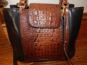 Large Brown & Black Vintage BRAHMIN Crossbody Shoulder Bag!   NICE!