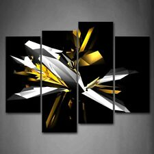 Framed 4 Pcs Abstract Black White Yellow Canvas Print Wall Art Painting Pictures
