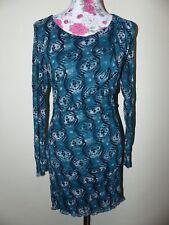 Neues Verspieltes Zero Collection Damen Chiffon Kleid Gr. 38 Retro Muster Grün