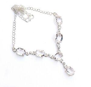 "White Topaz Gemstone Handmade 925 Sterling Silver Jewelry Necklaces Sz 18"""