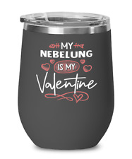 Nebelung Cat Lovers Wine Glass Insulated 12oz Black Tumbler Mug Cute Gift for Ca