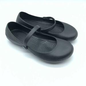 Han's Womens Flats Slip On Mary Jane Rubber Slip-Resistant Black Size 7