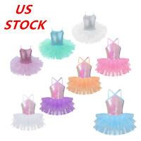 US Girls Dance Ballet Dress Kids Sequin Tutu Skirt Dancewear Performance Costume