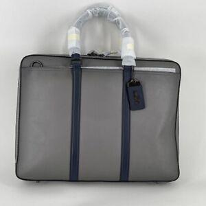 Coach Mens Metropolitan Slim Briefcase Gray Dual Handle Zipper Pockets New
