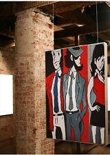 Quadri pop art Dipinti a mano lupin III Jigen e Margot , Mis 60x50 cm