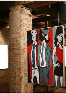 Quadro pop art Dipinti a mano lupin III Jigen e Margot , Mis 60x50 cm