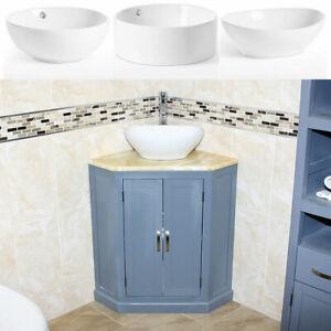 Grey Painted Bathroom Vanity Unit Corner Wash Stand Golden Onyx & Ceramic Basin