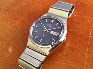 Vintage Seiko Quartz Watch_4336-8119_Textured Blue Dial_Stainless_Excellent