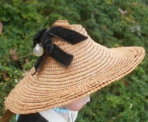 Très beau chapeau paille petite poupée époque fin XIXème !