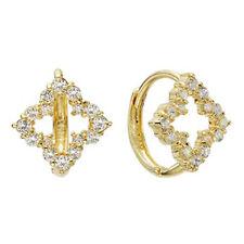 14k Solid Yellow Gold Hoop Earrings Ballerine 6763 Charming Flower Design Lovely