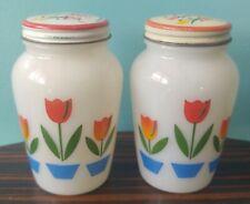 Vintage Fire King TULIP Salt & Pepper Shakers - Primary Color Range Set