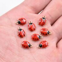 10PC Cute Ladybird Enamel Charm Pendant 11*9 MM For DIY Earrings/Bracelet
