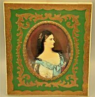 Antique Original Signed Empress Queen Duchess Miniature Portrait Oil Painting