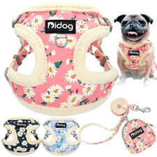 Fleece Dog Harness Dog Lead with Treat Bag for Small Medium Dogs French Bulldog