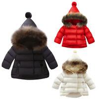 Kids Infant Baby Girl Coat Jacket Autumn Winter Warm Fur Hooded Outwear Snowsuit