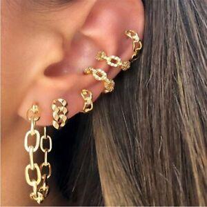 Gold Butterfly Cross Chain Hoop Ear Clip-On Earrings Set Cuff Wrap Women Jewelry