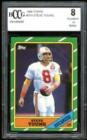1986 Topps #374 Steve Young Rookie Card BGS BCCG 8 Excellent+