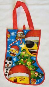 Emoji Christmas Stocking Gift Bag Reusable Plastic Tote Bag