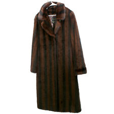 Dennis Basso Womens M Brown Long Faux Fur Trench Coat