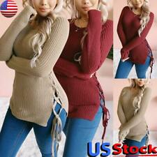 US Women Long Sleeve Sweater Knitted Tops Pullover Ladies Casual Lace Up Jumper
