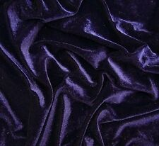 "Blue Velvet Dressmaking Designer Fabric 60"" Wide Solid Pattern Material By Metre"
