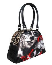Liquorbrand Eternal Bliss Faux Leather & Leopard Print Bowler Gothic Handbag