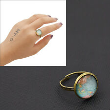 Women Adjustable Ring World Map Pattern Glass Dome Handmade Retro Jewellery Gift