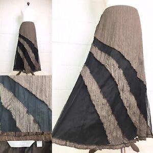 M&S Per Una Brown Black Maxi Skirt Tweed Mesh Steampunk Boho Crinkle UK 10  M15 