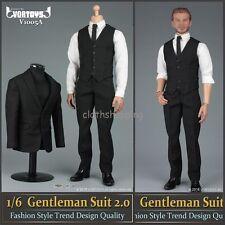 """VORTOYS V1005 1/6 Scale Black Gentleman Suit 2.0 Clothes Set F/12"""" Action Figure"""