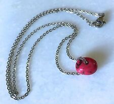 """Red Howlite Necklace-Tiny Nugget Stone Bead-16"""" Stainless Steel Flat Cable Chain"""