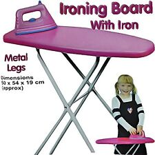 Pink Girls Kids Pretend Play Folding Ironing Board Toy with Iron Christmas Gift
