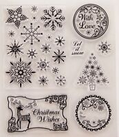 NEW Let It Snow Clear Christmas Stamp Set - contains 7 stamps 🎄
