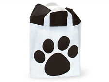 """PICCOLO Size 12""""x10""""x4"""" PAW Print FROSTED PLASTIC Studio BAGS Choose Pack Amount"""