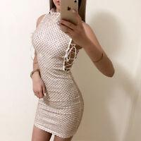 Gold Diamond Check Glitter Sequin Lace Up Dress Boutique Size S-XL Celeb Style