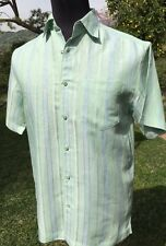 Havanera vintage mens shirt Sz. S Button front chest pocket Lime green,Green