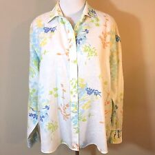Lands' End White Multi-Color Floral Linen Button Down Shirt Womens XL 18 20