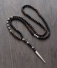 Bronzite & Black Onyx Long Drop Spike Necklace Natural Round 6mm Beads Silver