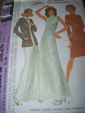1973 McCALL'S 3826-LADIES LONG or SLEEVELESS COCKTAIL GOWN & TURBAN PATTERN 14FF
